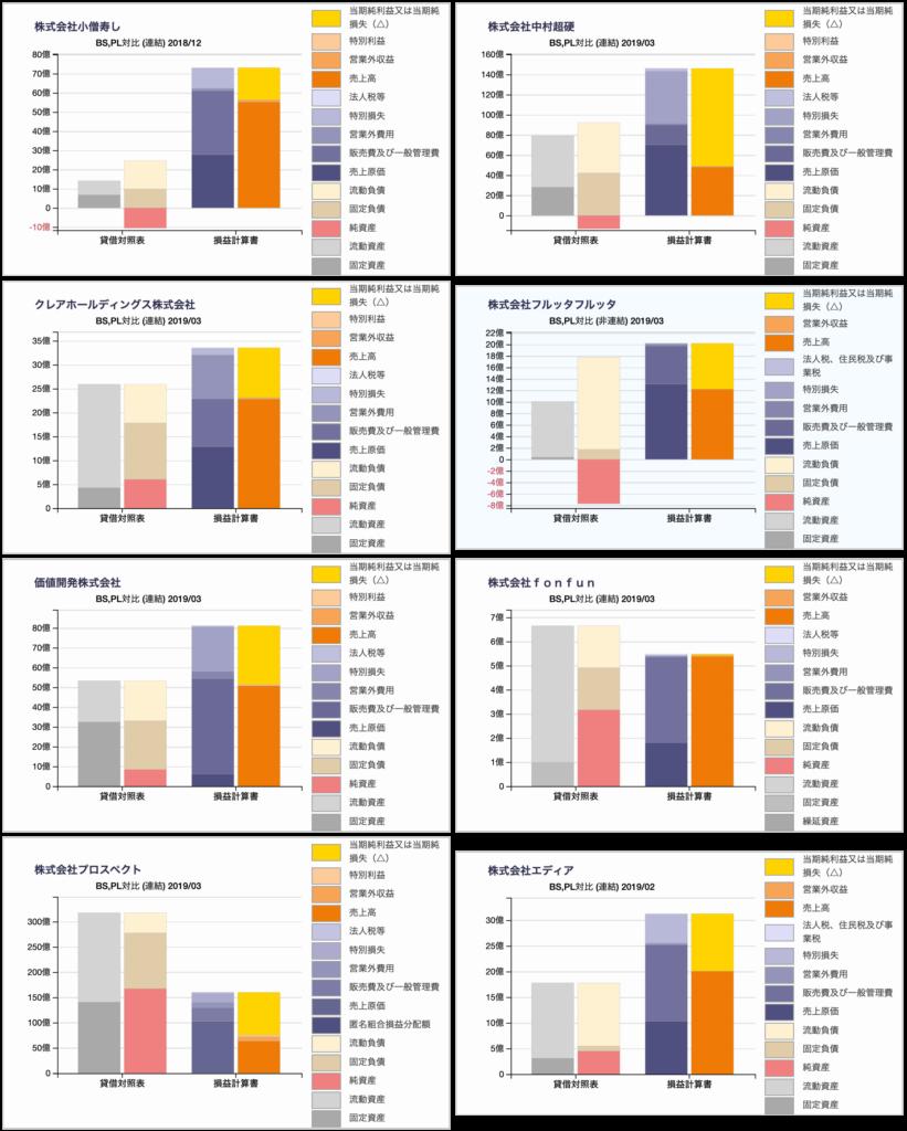 経済誌に倒産危険度で選ばれた企業(2019年)の財務諸表のBS/PL対比チャート